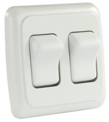 JR Products 13585 Modular On//Off Switch Double,White